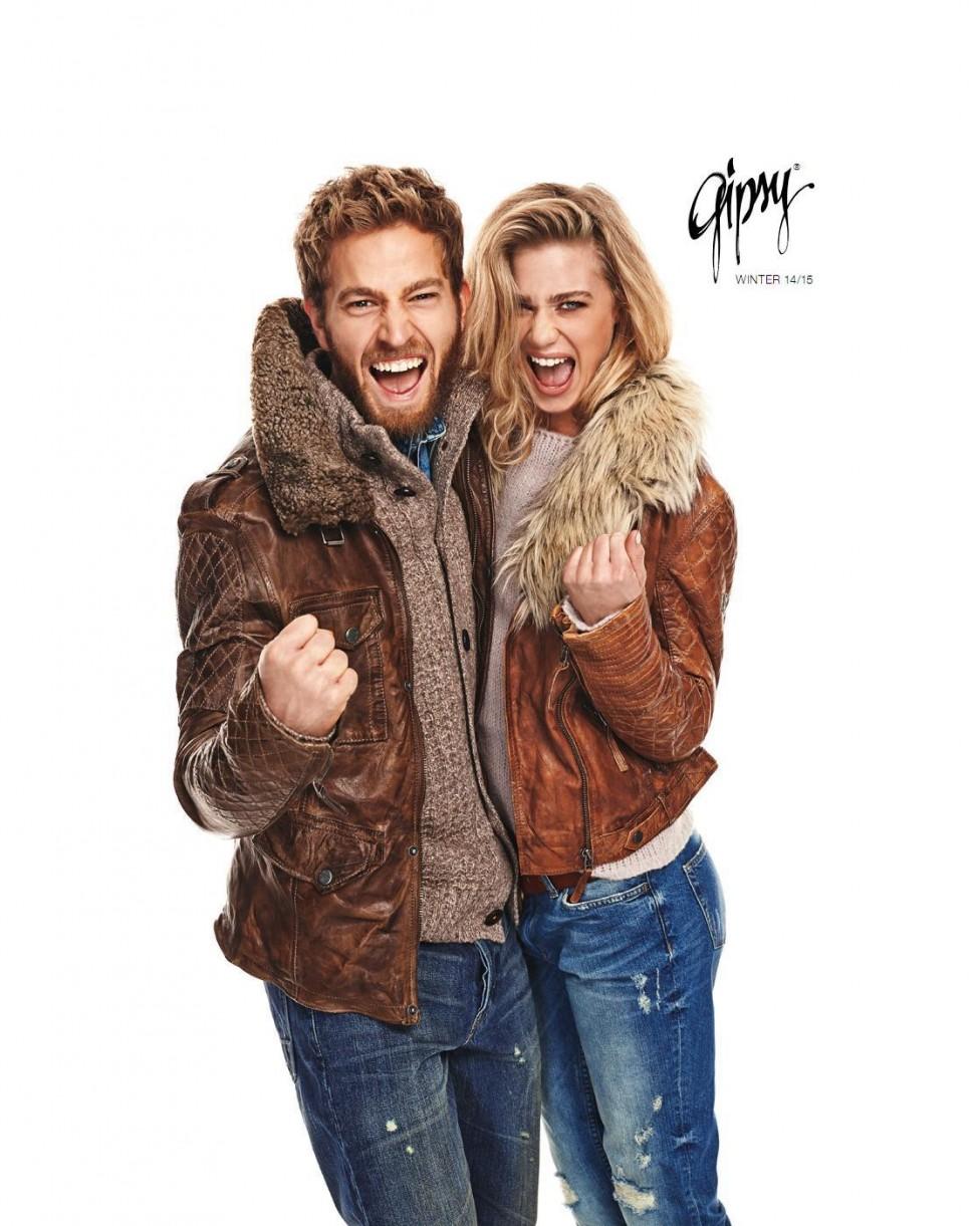 Homme et femme avec des blousons Gipsy en cuir